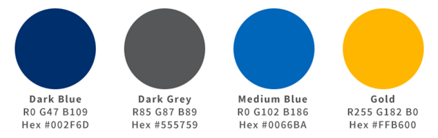 color palette in priority order: dark blue, dark gray, medium blue, gold