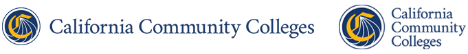 horizontal version of the California Community Colleges logo and vertical version of the California Community Colleges logo