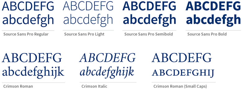 Samples of the font styles Source Sans Pro Regular, Source Sans Pro Light, Source Sans Pro Semibold, Source Sans Pro Bold, Crimson Roman, Crimson Italic, Crimson Roman (small caps)