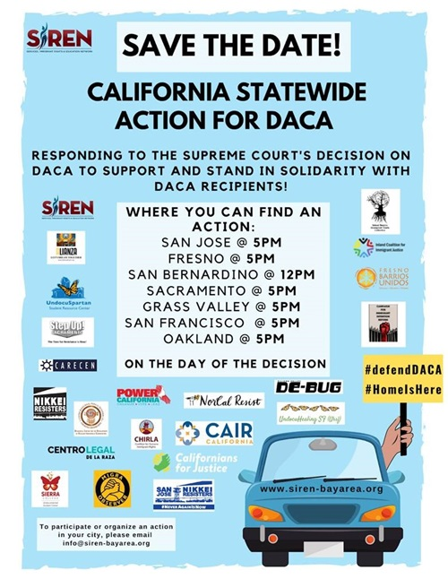 Save the date! poster, California Statewide action for DACA