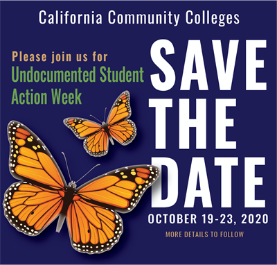 "event poster with orange butteflies on a blue background and ""save the date"" text."